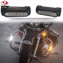 Black Motorcycle Highway Bar Switchback Driving Light for Crash Bars for Harley Davidson Touring Bikes