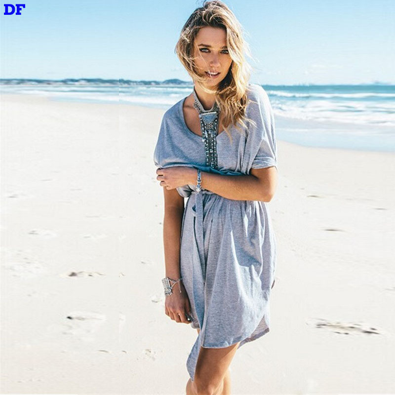 Buy Loose Casual Summer Dress Batwing Sleeve Bandage Party Dresses