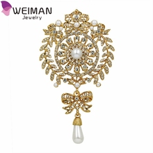 Wholesale New Fashion Large Size Crystal Diamante and Imitation Pearl Drop Scroll Big Brooches for Women Wedding
