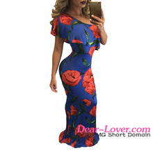 Wholesale African Blue Ruffled One Shoulder Floral Maxi Dresses Online
