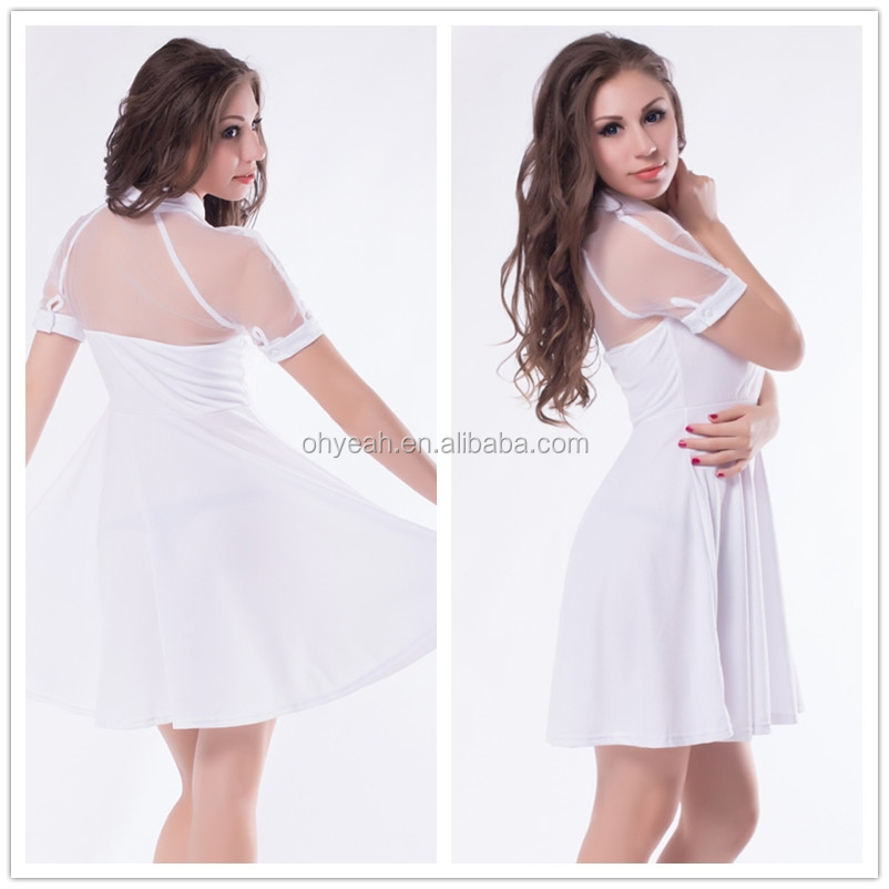 Fashion design see-through neck adult women short white dress