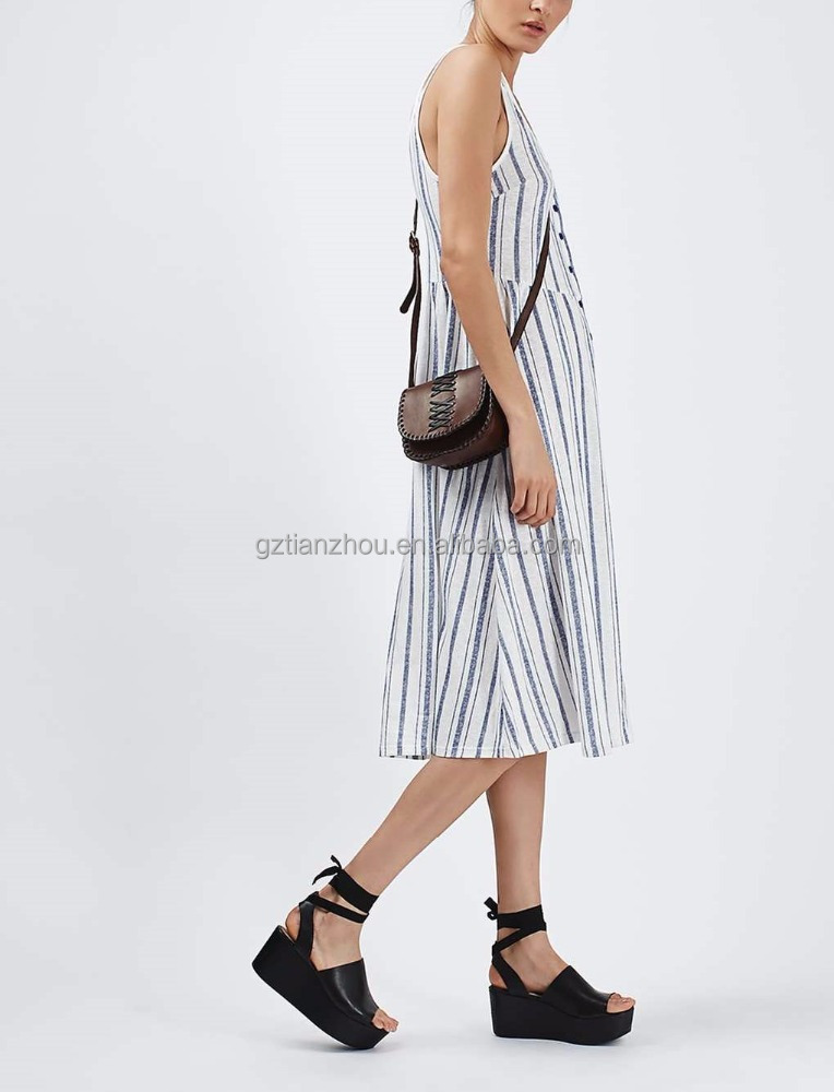 2016 new design bulk buy clothing striped dresses midi jersey sundress
