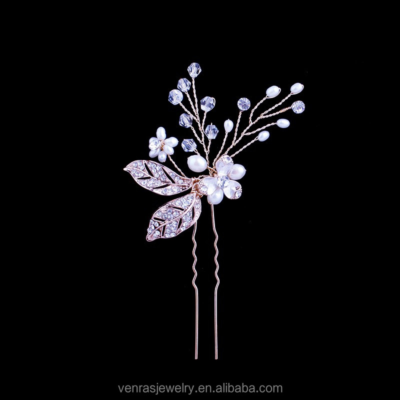Handmade DIY <strong>U</strong> Shaped Floral Crystal Beaded Hairpins Wedding Jewelry Wholesale