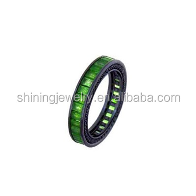 good quality women fashion simple jewelry silver green stone ring