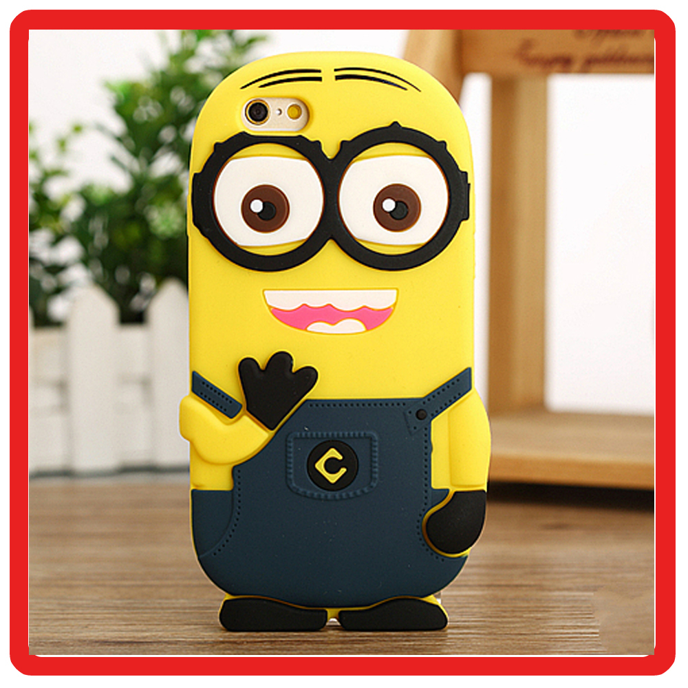 Cute Cartoon Despicable Me Minion Animal 3D little yellow people model silicon shell phone cover case for iPhone 6 6s plus