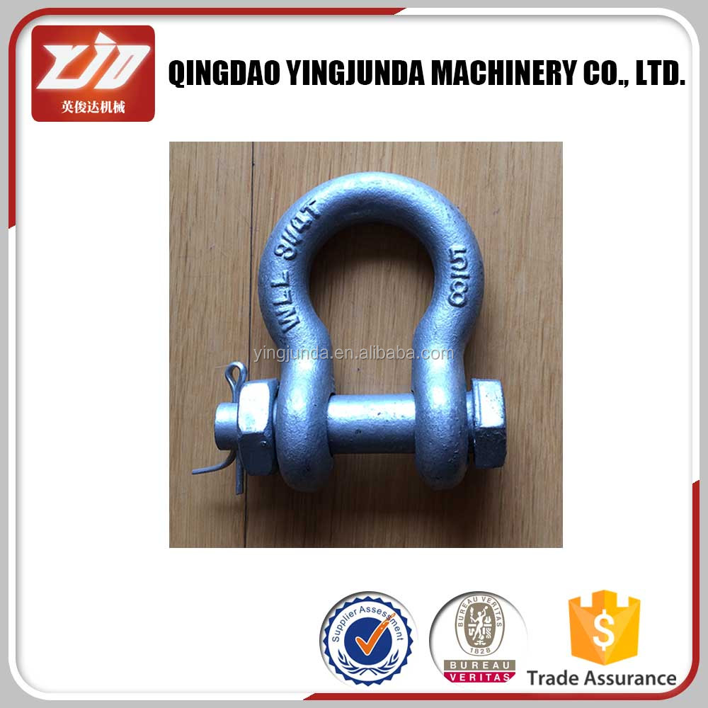drop forged bolt-type screw pin bow shackle mooring shackle