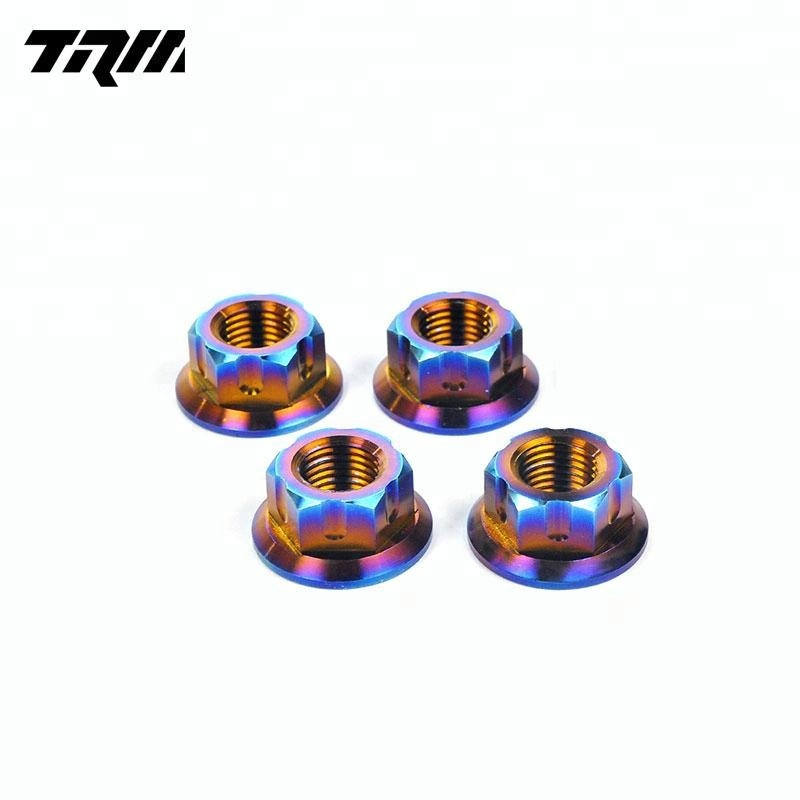<strong>M10</strong> Din6923 titanium flange Nuts in rainbow Anodized for Motorcycle