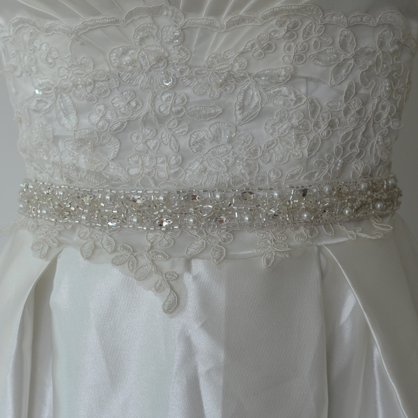 Wholesale fashional Beaded pearl bridal sashes shiny Wedding accessories supplier Acrylic Rhinestone bridal sash belt RA360