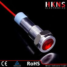 6mm red metal LED indicator light , IP67 indicator lamp