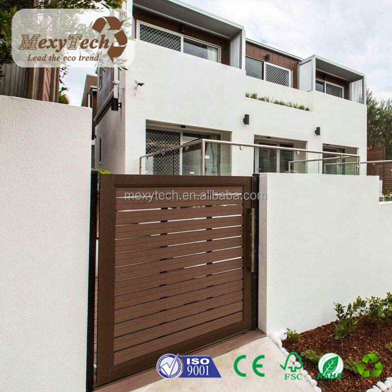 modern garden wood plastic composite fence door