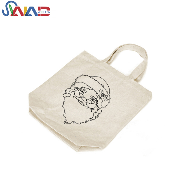 New Style merry christmas print handles shoulder nature cotton shopping carry bags for kid