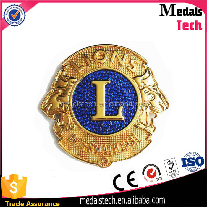 China manufacture custom promotion metal crafts gold silver brass plated lion club lapel pin