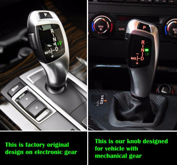 X6 style illuminated LED gear selector lever shift knob for BMW E38 E39 E60 E46 E90 E92 E82 E87 E84 E83 E53 E86 E89 1998 2011