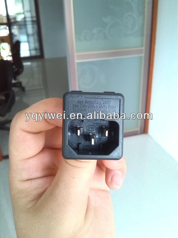 10A 250VAC 3 brass terminals with 5*20mm fuse holder black color power socket