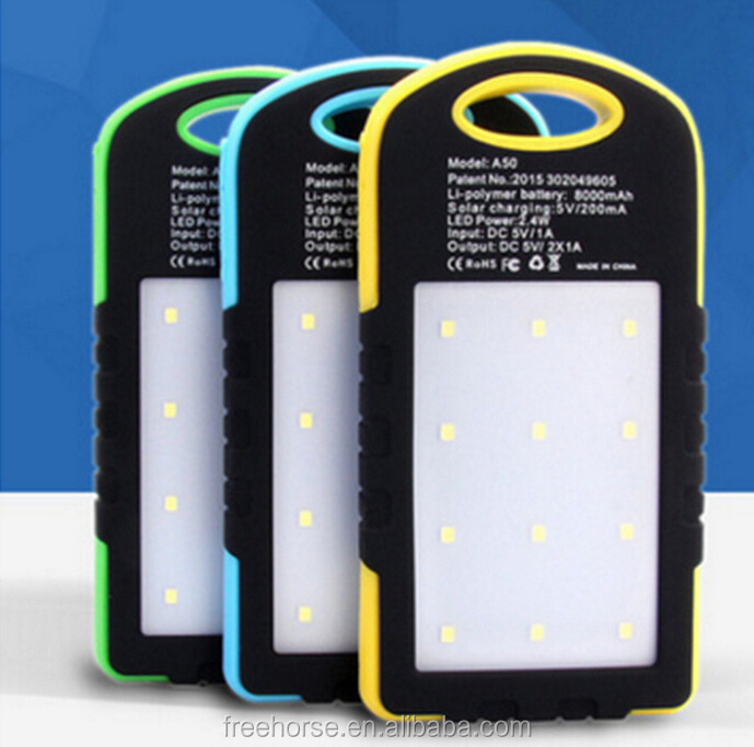 Manufacturer china,8000mAh solar power bank charger solar cell phone charger with led light