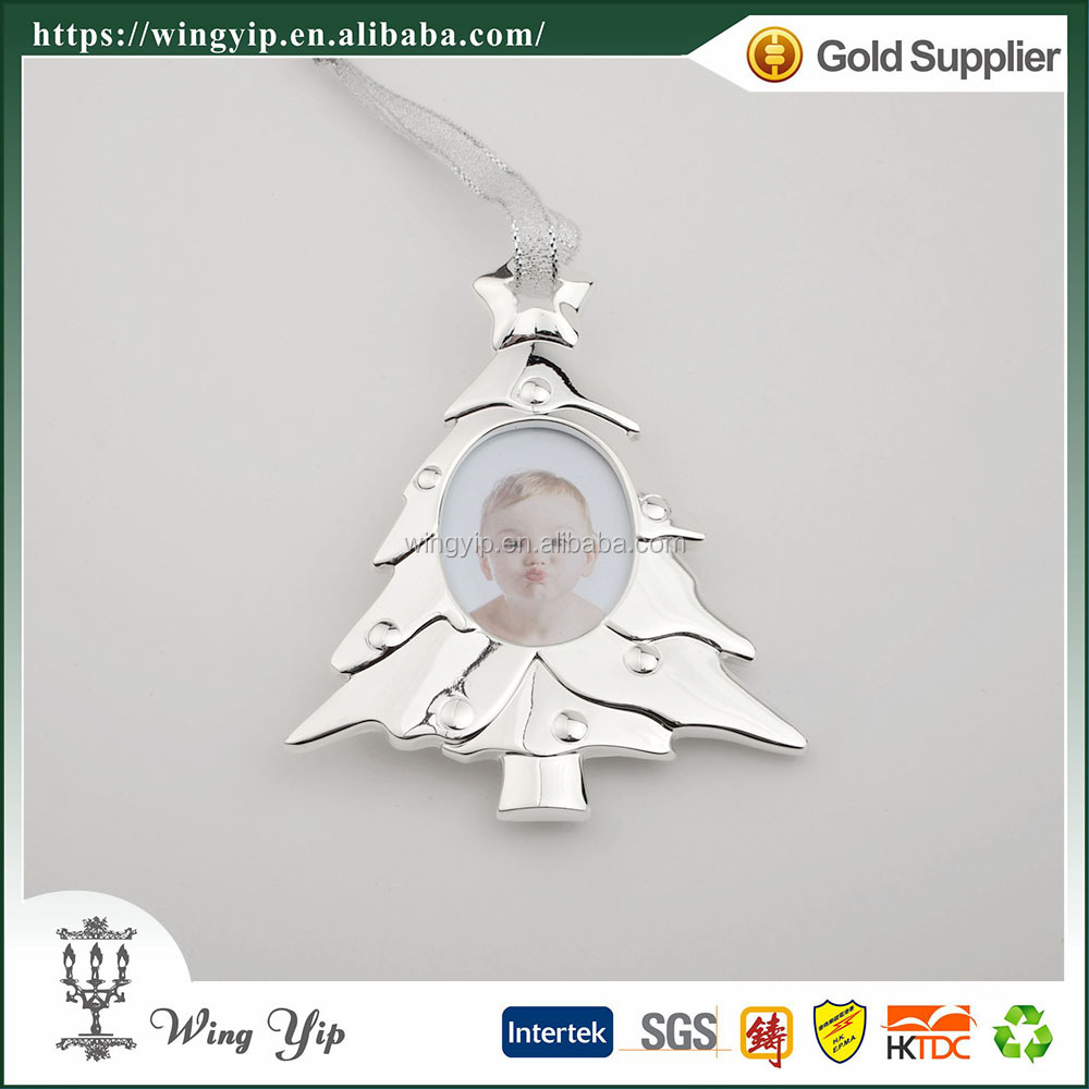 Wholesales Tailor made Christmas Tree with picture Zinc alloy metal Christmas Gift for Ornament