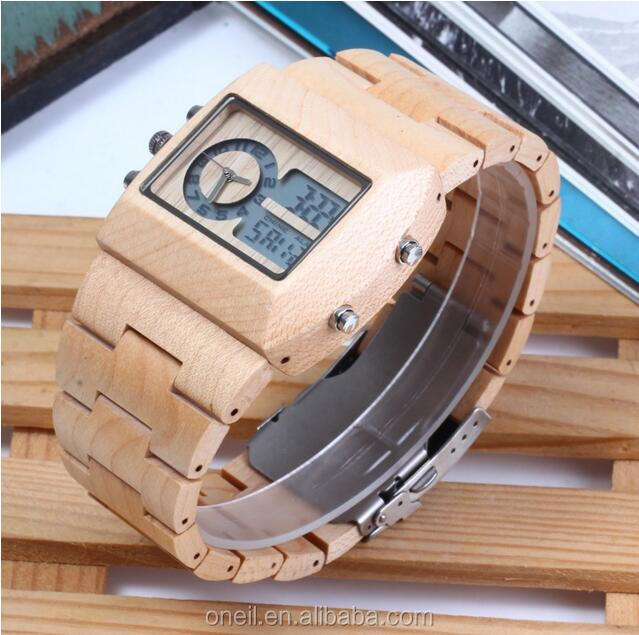 Square shape digital colorful wrist watch top quality wood watch