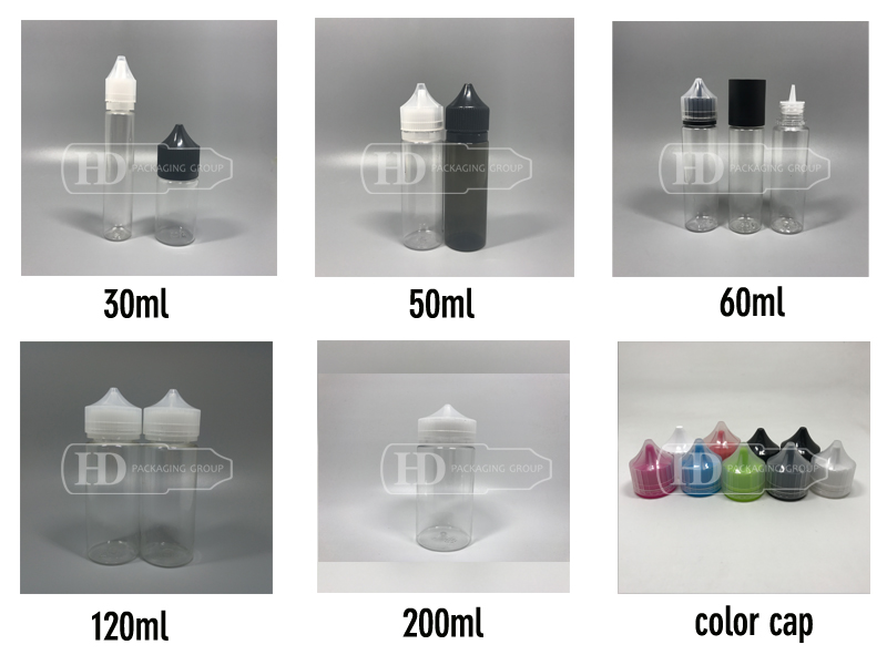 made in china! HD PACKAGING GROUP 10ml e liquid empty plastic dropper bottle