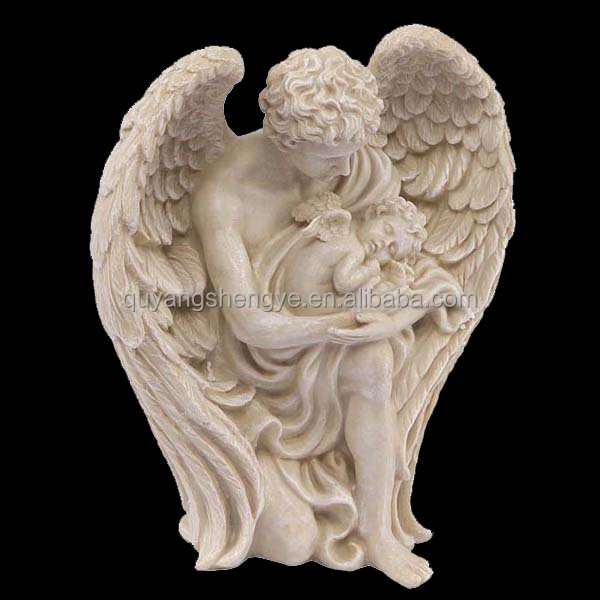 white stone angel statue with a baby