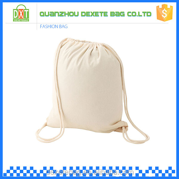 Recyclable promotional white organic cotton drawstring bags