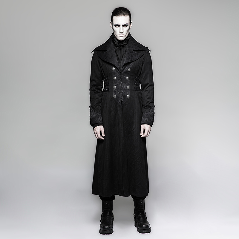 <strong>Y</strong>-742 Steampunk Gentleman Arctic Wolf Collar Stripe Emboss Extra Long <strong>Coat</strong>