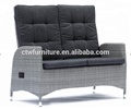 Double seat plastic rattan adjustable outdoor chair