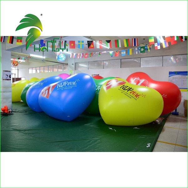 Colorful Printing Outdoor Floating Decoration Inflatable Valentine Heart Model Balloon