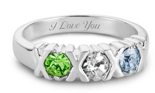 Silver Hugs and Kisses Rings