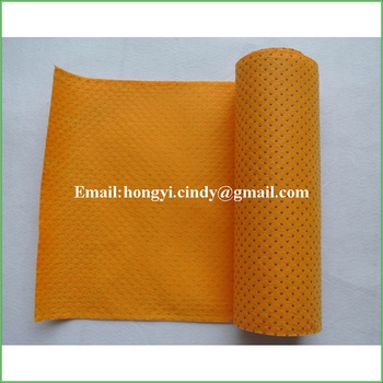 Nonwoven fabric resin dots orange super absorbent shammy cloth rolls