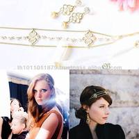 Elegant Gold plated and beaded pearl headband