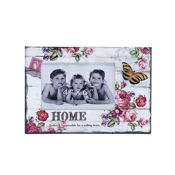 Romantic styl metal with printing wooden decorative family souvenir picture frame