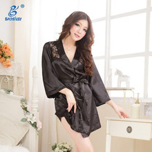 Women sexy short mini sleepwear transparent silk night dress