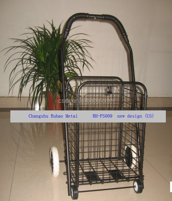 Foldable wire mesh cart shopping cart with four wheels