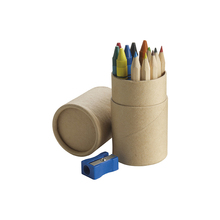Cheap promotional gift Pencil set Six hexagonal colour pencils, six crayons and a pencil sharpener supplie
