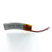 Curved rechargeable li-poly battery 201030 43mAh 3.7V, used for Wearable devices