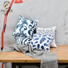 Promotional Digital Printed Custom Design Blue flower cotton Cushion Covers