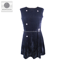 New fashion velvet material sleeveless autumn evening dress