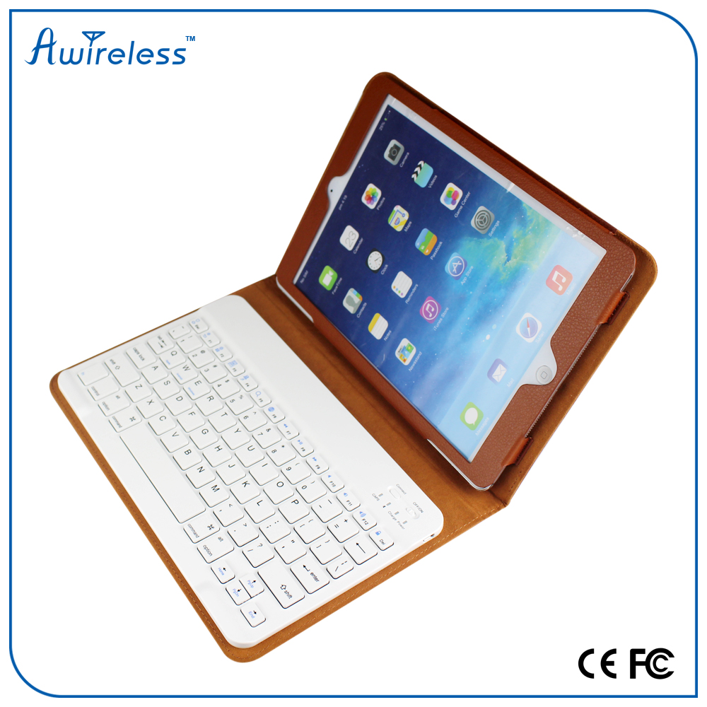 New tablet leather keyboard case with detachable wireless keyboard for ipad air ,tablet pc keyboard case for ipad mini