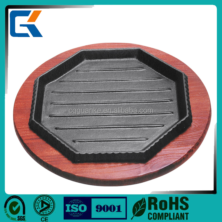 Octagon shape cast iron sizzler plate steak plate with best price from China