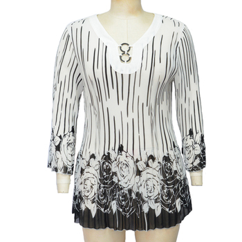 ladies relaxed fit V-neckline adjustment woven blouses