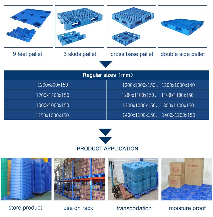 Logistics Warehouse Heavy Duty Stackable Reinforced Plastic Type Euro Pallets