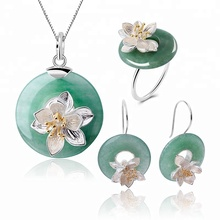 lotus Fun Round Lotus Whispers Shape ring Drop Earring Pendant Necklace 925 Sliver Jade Jewelry Set For Women