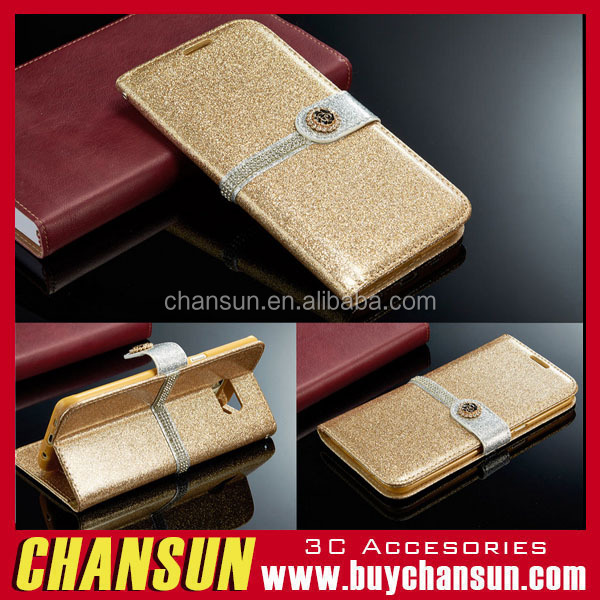 Luxury PU Leather Magnetic Flip Stand Bling Wallet Cover Case For Samsung galaxy s5