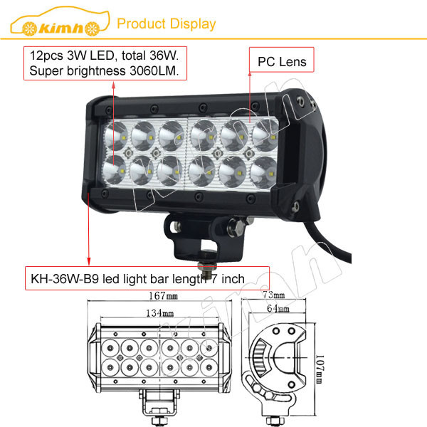 "Manufacture Brand led 7"" 36W 3060LM music light bar"