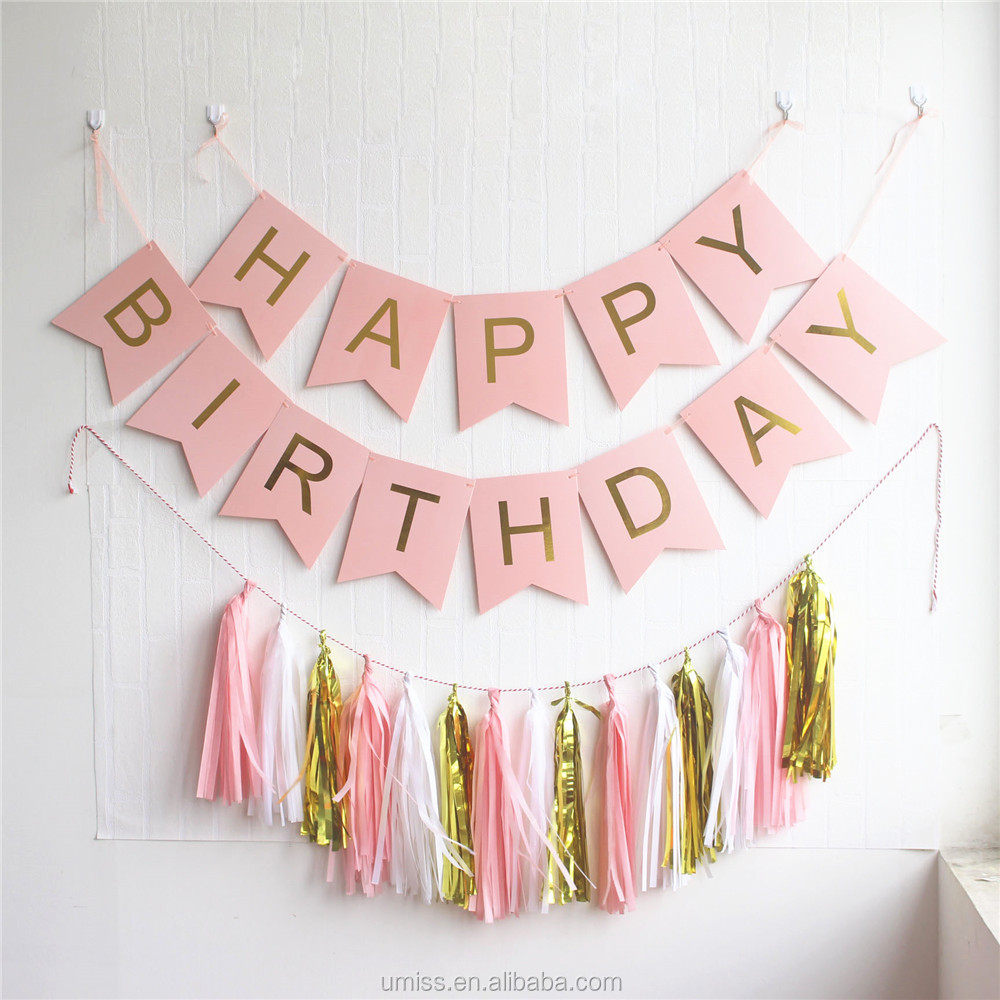 Happy Birthday Banner Kit Bunting Garlands, Tissue Paper Tassel Decorations, Wholesale Birthday Party Supplies