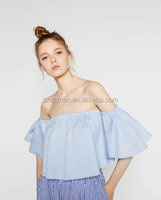2016 latest new design women blouses and tops sexy girls slash neck off shoulder tops summer ladies cloth