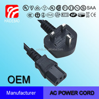 UK Hot Sale Power Cord with Computer Connector plug for uk