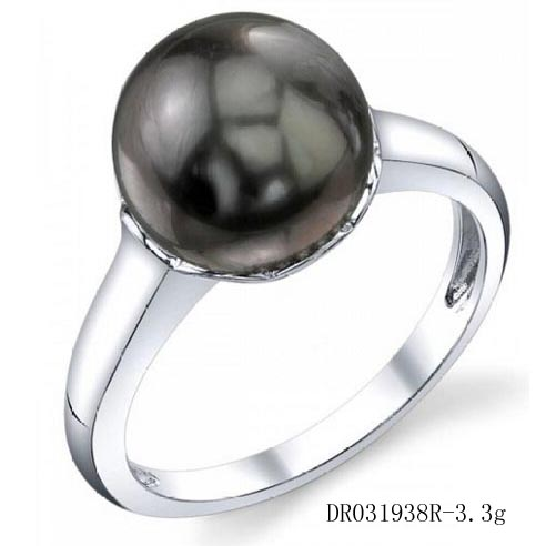 Luxury Pearl Jewelry Single Pearl Ring Black Pearl Engagement Ring DR031938R
