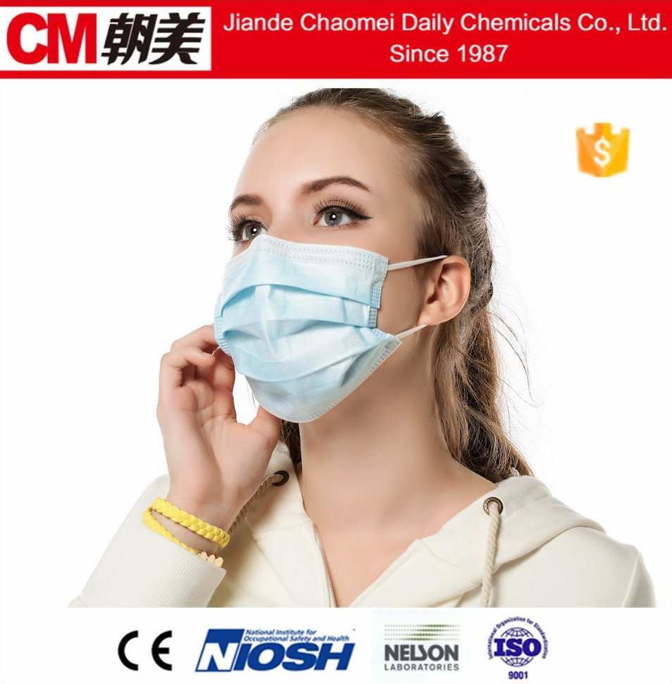 CM Disposable Non woven 3 ply Pleated Surgical Earloop Face Masks