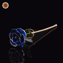 WR 24K Gold Plated Rose Flower Dipped Foil Dark Blue Floral Birthday Valentine's Day Gift for Wedding Christmas Decoration